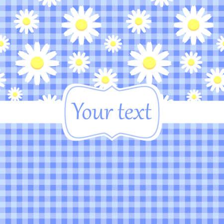 kamille: Nette blaue Karte Einladung mit Kamille