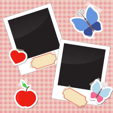 Photos, stickers, tags with tape Vector