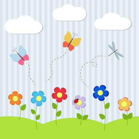 Background with flowers and flying dragonflies and butterflies