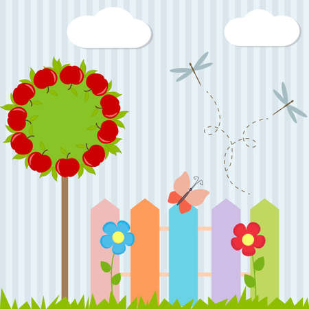 Background with tree, fence, butterfly and flying dragonflies Vector