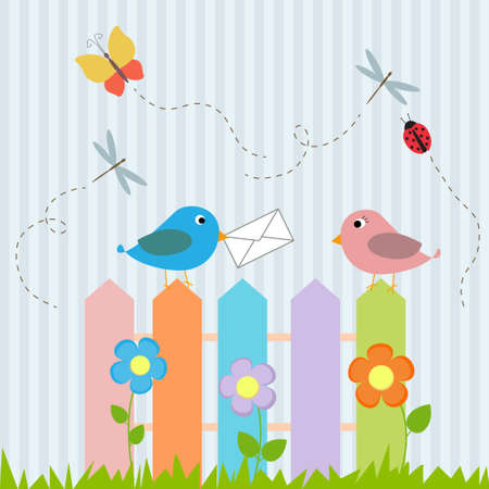 Birds on fence with letter Vector