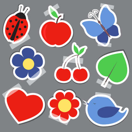 Set og elements for scrapbooking bird flower heart butterfly Vector