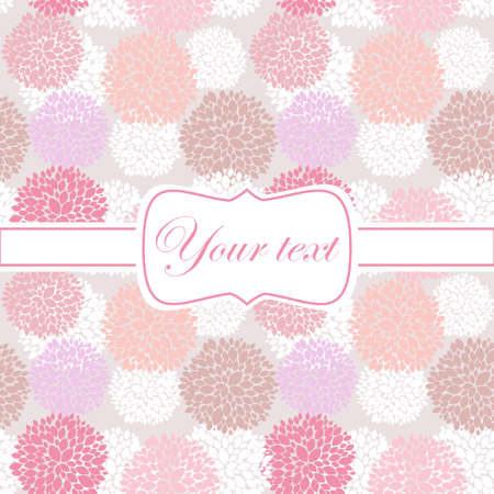 Pink card invitation with peony flowers