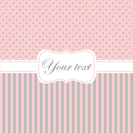 polka dots: Pink card invitation with polka dots and stripes