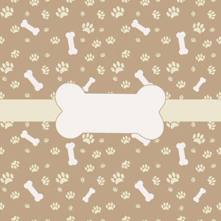bones of the foot: Background with dog paw print and bone Illustration
