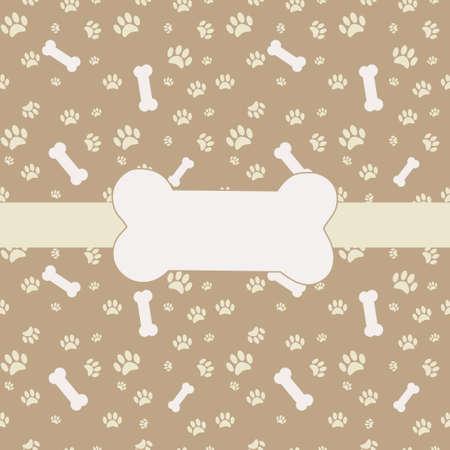 hueso de perro: Fondo con la impresión de la pata del perro y el hueso Vectores