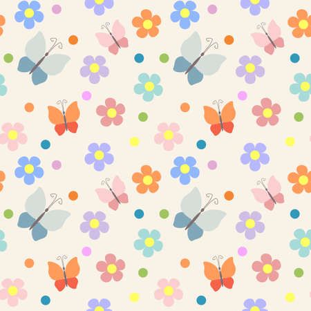 Seamless pattern with flowers and butterflies Stock Vector - 18089529
