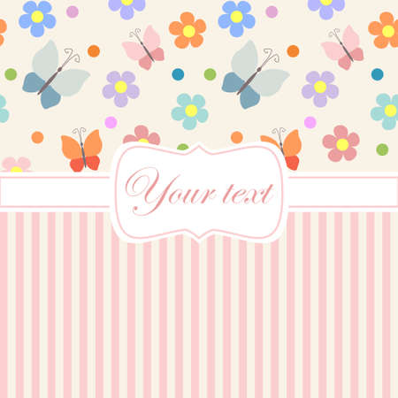 Pink card invitation withflowers and stripes Illustration