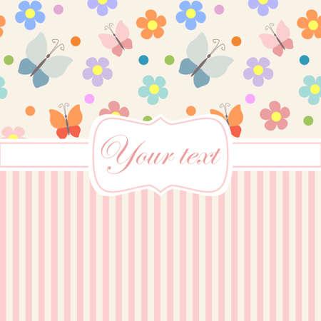 girotondo bambini: Withflowers invito carta rosa e strisce