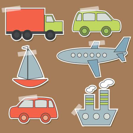 Set of transport stickers for babies Illustration