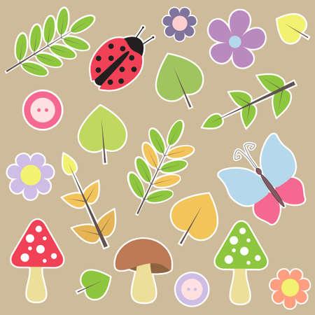button mushroom: Set of autumn scrapbook elements