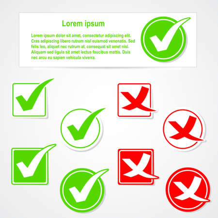 green check mark: Vector check mark stickers and banner
