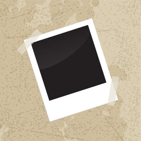 scotch tape: Photo frame with scotch tape on old vintage grungy background