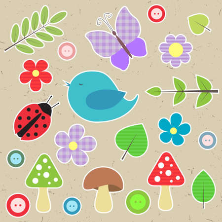 Set of scrapbook elements - animals, nature, buttons Vector