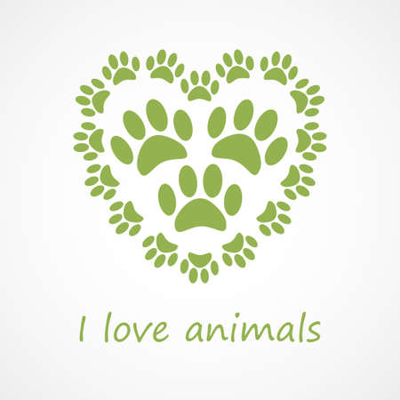 animal foot: Animal foot print heart in eco style