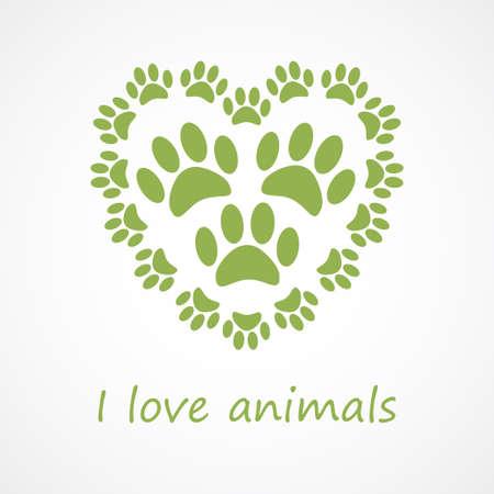 huellas de perro: Pie del corazón del estampado de animales en estilo ecológico Vectores
