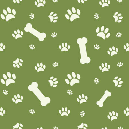 Background with dog paw print and bone on green