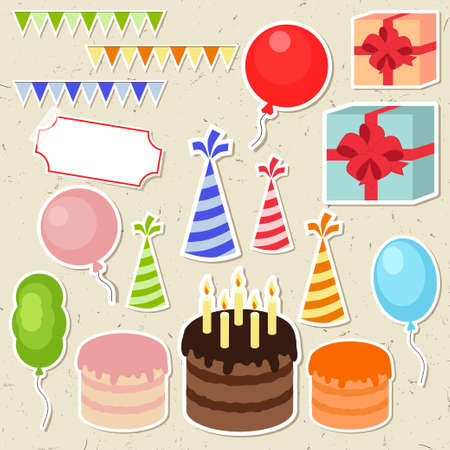 birthday hat: Set of vector birthday party elements for scrapbooking