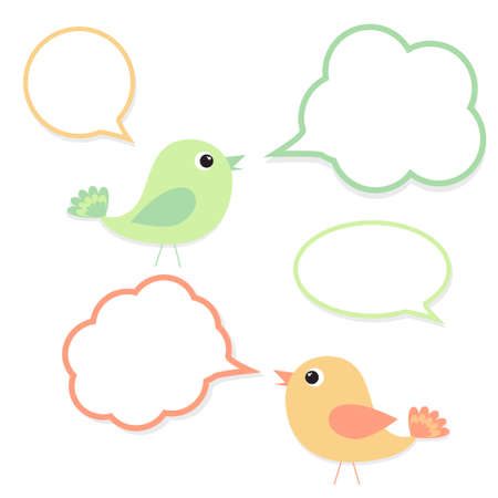 Set of birds with speech bubbles