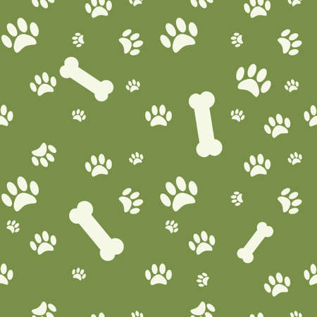 dog bone: Background with dog paw print and bone on green