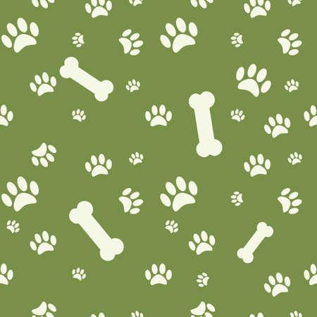 huellas de perro: Fondo con el perro huella de la pata y el hueso en verde