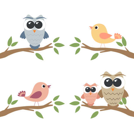 Set of owls and birds sitting on branch Vector