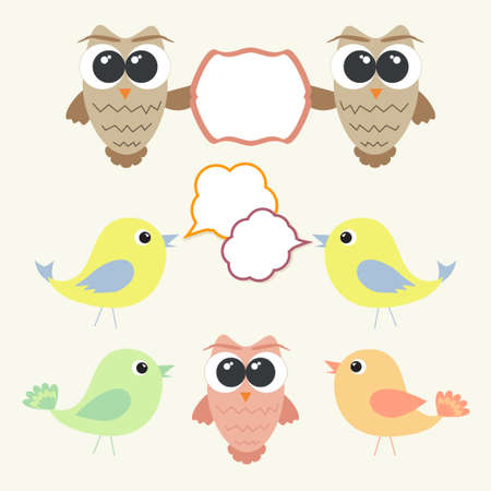 Set of owls and birds with speech bubbles Vector