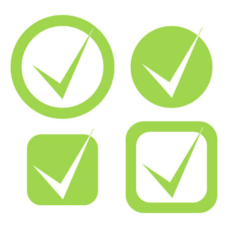 Vector check mark stickers in eco green color