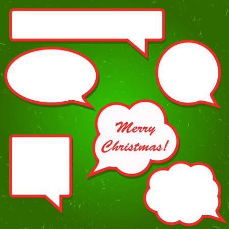 Set of bright red speech bubbles for Christmas design Illustration