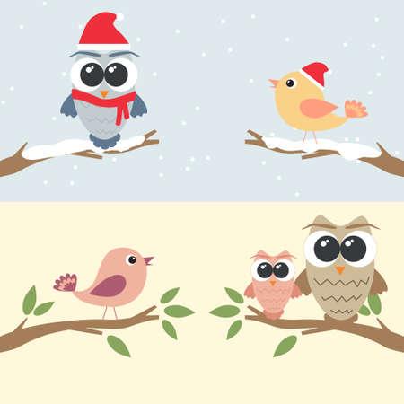 Conjunto de búhos y pájaros posados ??en la rama Foto de archivo - 24349268