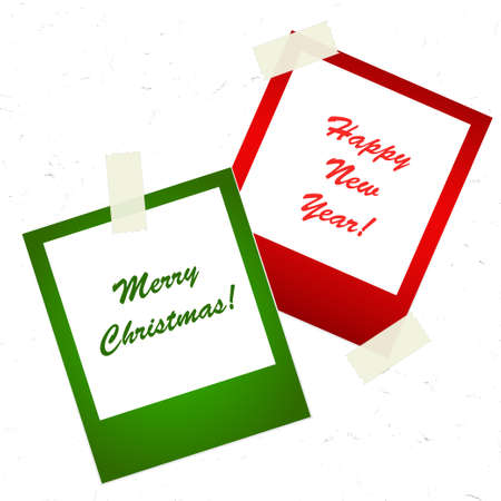 Chrismas photo stickers with tape Illustration