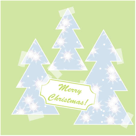 Merry Christmas card with snow and christmas trees Illustration