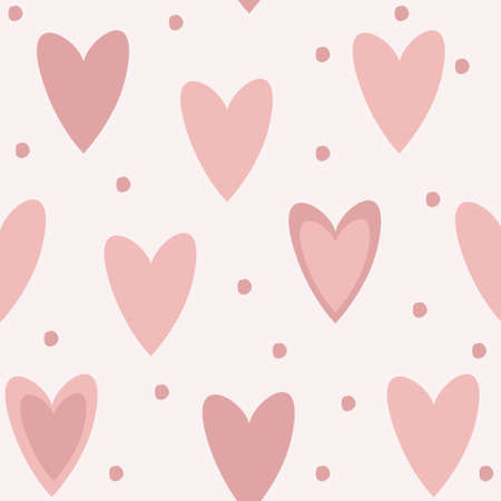 Cute unique seamless pattern background with pink hearts and dots