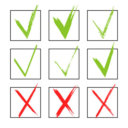 Set of hand-drawn check marks, sketch , watercolor and grunge eco green check marks for your business website, web page Illustration
