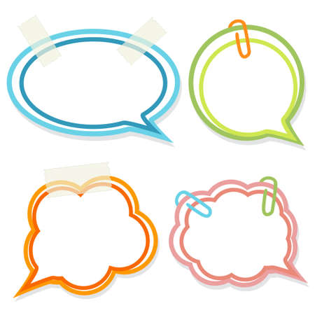 Set of cute bright speech bubbles with tape and clips