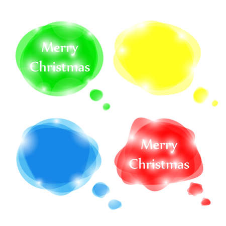 Set of bright vector speech bubbles for Christmas design Illustration