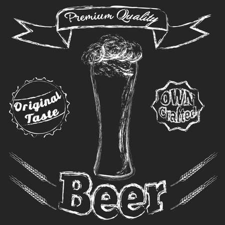 owning: Chalk Glass of beer Illustration