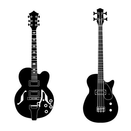 bw guitar set Vettoriali