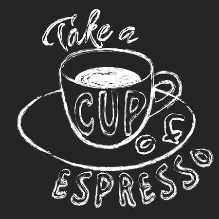 Chalk cup of espresso