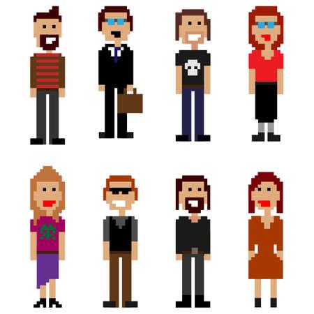 pixel style people Vector