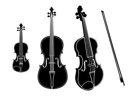 Vektor-Cello und Geige isoliert auf weiß Vektorgrafik