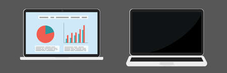 Two vector laptops different foreshortening, on and off view with financial infographic isolated. Illustration