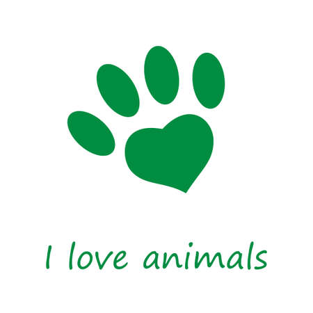 I love animals vector poster banner in green Ilustrace
