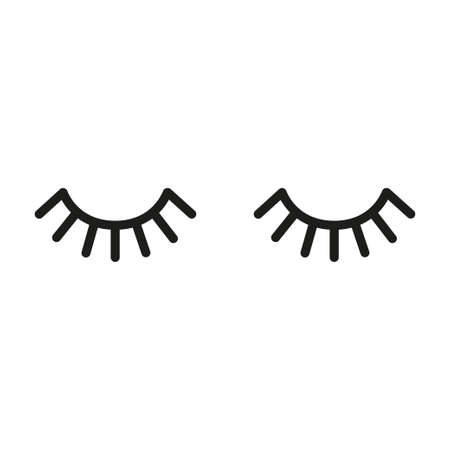 Cute cartoon vector eyes with lashes illustration