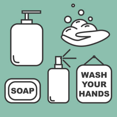 Wash your hands set of icons vector