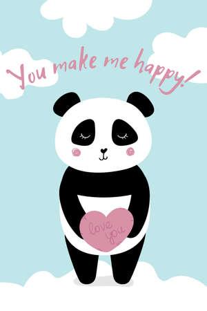 Love card with panda you make me happy Stockfoto - 149384039
