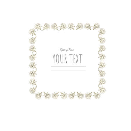 Floral romantic vector frame. Vintage monochrome frame. Greatings and weddings card, background, banners design.
