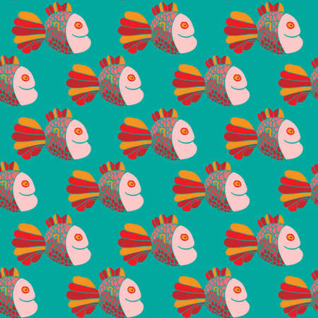 Seamless vector pattern with colorfull cute fishes Vettoriali