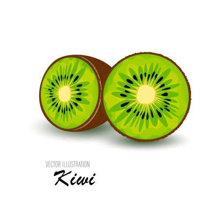 Fresh half of kiwi isolated on a white background