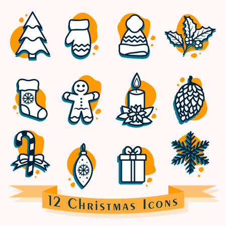 Christmas icon set in blue and yellow colors. Vector illustration of pine tree, gift, snowflake, hat, mitten, candle, pinecone, mistletoe branch, gingerbread man, candy cane and Christmas stocking